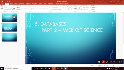 Thumbnail for entry FDNS 4600 / 6600 Food and Nutrition Policy - Library Instruction Part 5: Databases (Web of Science)