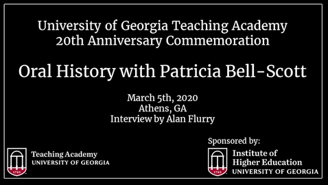 Thumbnail for entry UGA Teaching Academy - Patricia Bell-Scott
