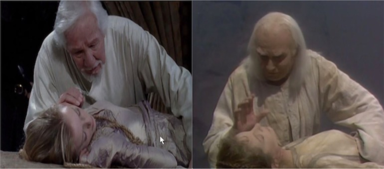 Charles/Lear and Sophie/Cordelia: Slings and Arrows: 2006 (left); Lear and Cordelia: Olivier's Lear: 1983 (right)
