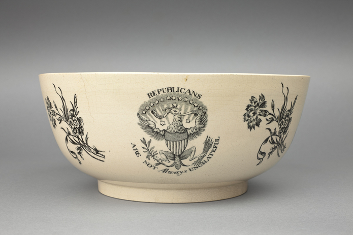 "Figure 3. Ceramic bowl with the motto ""Republicans are not always ungrateful."" Photo Credit: Shakespeare Birthplace Trust."