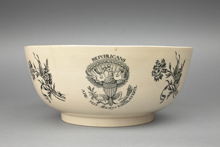 """Figure 3. Ceramic bowl with the motto """"Republicans are not always ungrateful."""" Photo Credit: Shakespeare Birthplace Trust."""