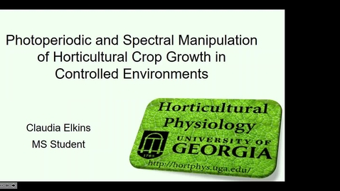 Thumbnail for entry Horticulture Seminar - Claudia Elkins 11/20/19