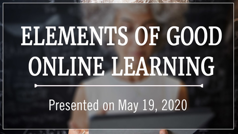 Thumbnail for entry Elements of Good Online Learning
