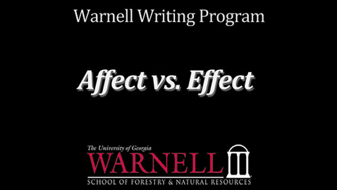 Thumbnail for entry Affect vs. Effect
