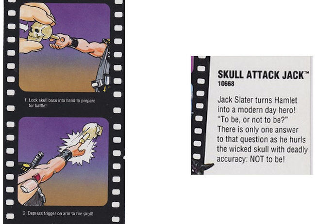 Figures 1 and 2:  Illustration of how to launch the skull on Skull Attack Jack packaging (left); Description on the back of the packaging for Skull Attack Jack (right) photos by: Jared Carlson