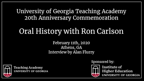Thumbnail for entry UGA Teaching Academy - Ron Carlson