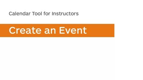 Thumbnail for entry Calendar - Create an Event - Instructor