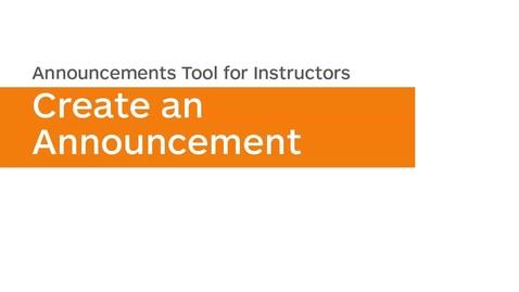 Thumbnail for entry Announcements - Create an Announcement