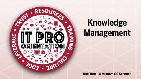 Thumbnail for entry Knowledge Management