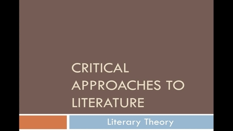 Thumbnail for entry Critical Approaches