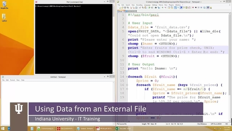 Thumbnail for entry Perl: The Basics 16 – Using Data from an External File
