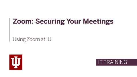 Thumbnail for entry Zoom: Securing Your Meetings