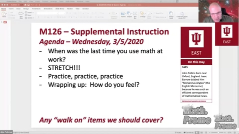 Thumbnail for entry SP20 M126 Supplemental Instruction Midterm Review Session 1