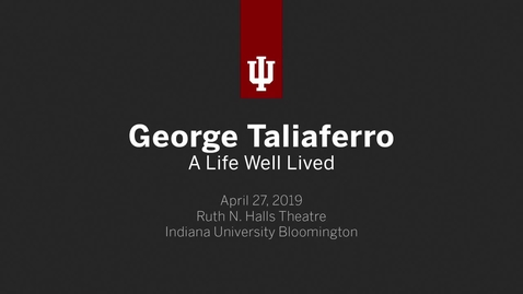 Thumbnail for entry Celebration of the Life of George Taliaferro