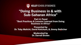 "Thumbnail for entry CIBER Doing Business Conference: Africa - ""Best Practices and Lessons Learned from Doing Business in Africa"""