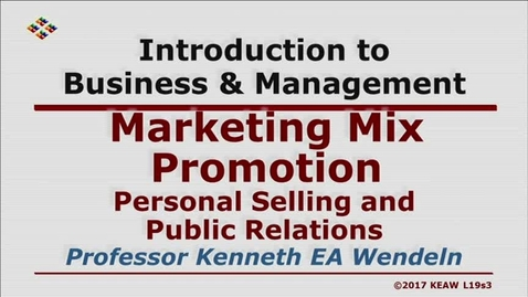 Thumbnail for entry W200 19-3 Personal Selling and Public Relations