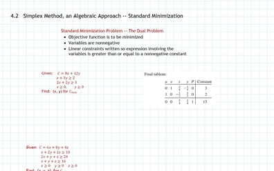 Simplex Method, Minimization, Part b, Standard Minimization