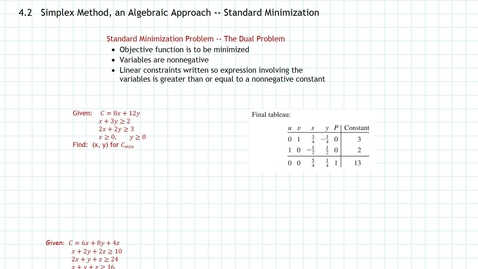 Thumbnail for entry Simplex Method, Minimization, Part b, Standard Minimization