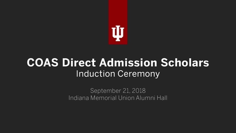 Thumbnail for entry COAS Direct Admission Induction Ceremony 2018