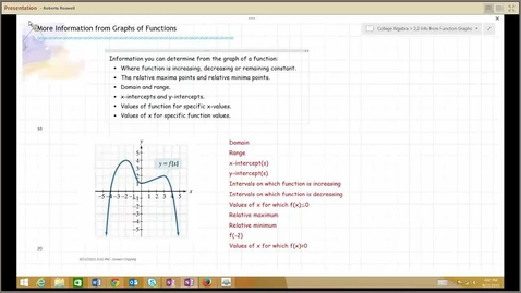 Thumbnail for entry B111 M123 College Algebra, Info from Function Graphs, 2.2