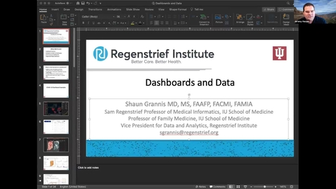 Thumbnail for entry Dashboarding: How data is translated into predictions and why the virus has been so hard to track and contain - Shaun J. Grannis, M.D.,