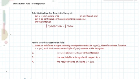 Thumbnail for entry 5.5 Substitution Rule for Integration M215 Spr17