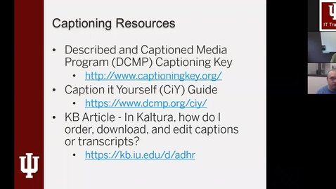 Thumbnail for entry Captioning Videos in Kaltura Webinar