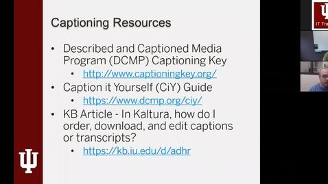 Thumbnail for entry Captioning Videos in Kaltura Webinar