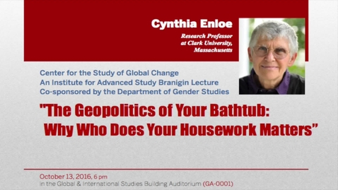 Thumbnail for entry 2016 Branigin Lecture with Cynthia Enloe