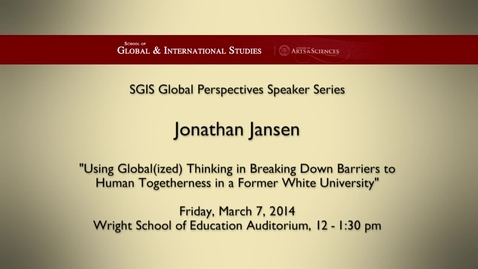 Thumbnail for entry Global Perspectives Series: Jonathan Jansen
