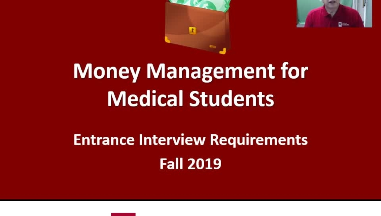 Money Management for Medical Students - Orientation pip 2019