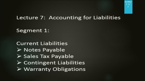 Thumbnail for entry A186 07-1 Accounting for Liabilities