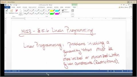 Thumbnail for entry M123 Section 5.6 Linear Programming