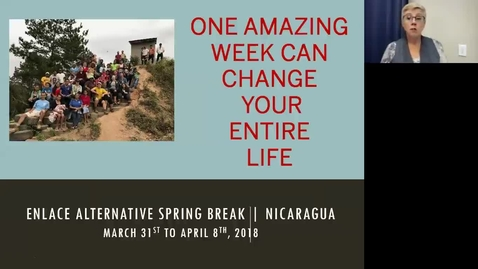 Thumbnail for entry ENLACE 2018 International Service Trip to Nicaragua   Call Out Meeting October 3 - Clipped by Jennifer Custer