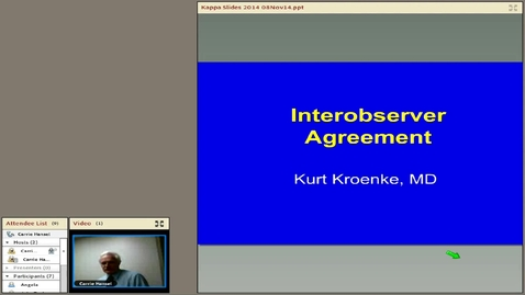 Thumbnail for entry Interobserver Agreement, Kurt Kroenke, MD