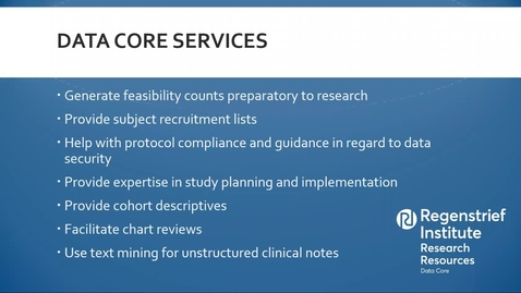 Thumbnail for entry Data Services for Human Subjects Research