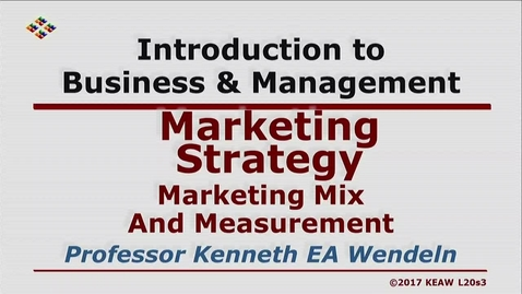 Thumbnail for entry X100 20-3 Marketing Mix and Measurement