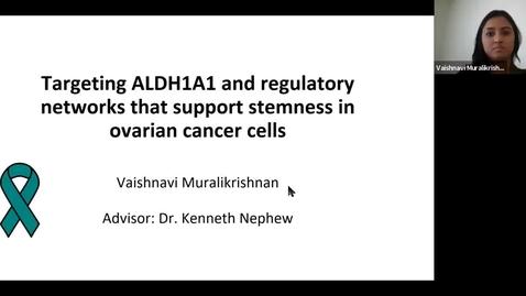 "Thumbnail for entry IUSCCC Virtual Seminar Series _8/6/2020: Vaishnav Muralikrishnan ""Targeting ALDH1A1 and Regulatory Networks that Support Stemness in Ovarian Cancer Cells """