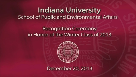 Thumbnail for entry SPEA December Recognition Ceremony