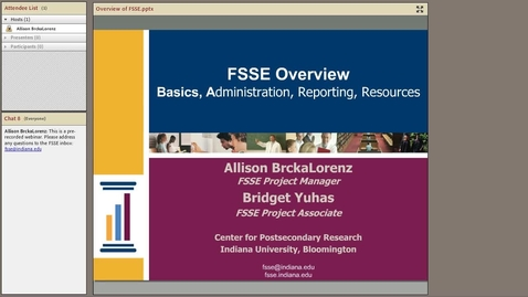 Thumbnail for entry FSSE Overview: Basics, Administration, Reporting, and Resources
