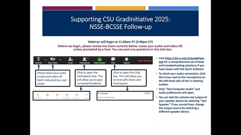 Thumbnail for entry Supporting CSU GradInitiative 2025: NSSE‐BCSSE Follow‐up
