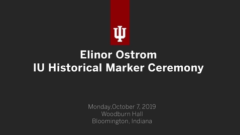 Thumbnail for entry Elinor Ostrom IU Historical Marker Ceremony