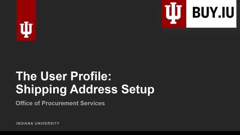 Thumbnail for entry The User Profile: Address Setup
