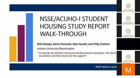 Thumbnail for entry NSSE Student Housing Report Walk-through