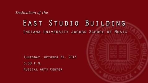 Thumbnail for entry Jacob's School of Music East Studio Building Dedication