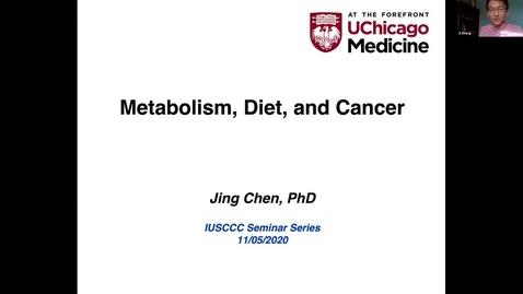 "Thumbnail for entry IUSCCC  Virtual Seminar Series  November 5, 2020- Jing Chen, PhD ""Metabolism, Diet and Cancer"""