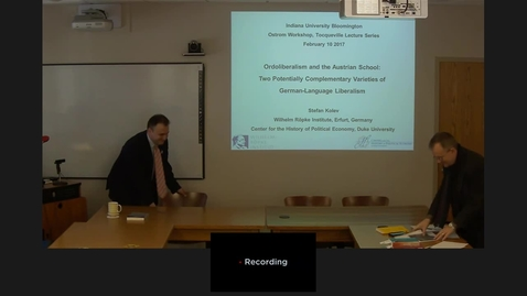 "Thumbnail for entry 02/10/2017 Tocquevlle Lecture - Stefan Kolev: ""Ordoliberalism and the Austrian School: Two Potentially Complementary Varieties of German-Language Liberalism"""