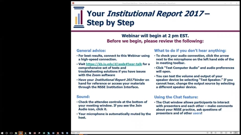 Thumbnail for entry Your NSSE Institutional Report 2017: Step by Step