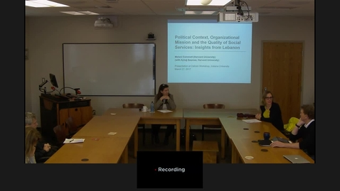"Thumbnail for entry 03/27/2017 Colloquium Series - Melani Cammett: ""Political Context, Organizational Mission, and the Quality of Social Services: Insights from the Health Sector in Lebanon"""