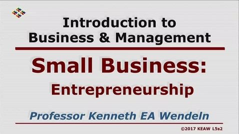 Thumbnail for entry X100 05-2 Enterpreneurship